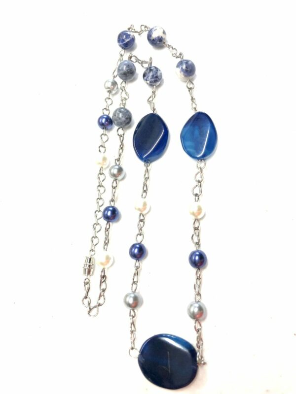 Handmade women's blue, grey & white necklace