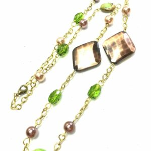 Handmade copper, green & brown colored women's necklace