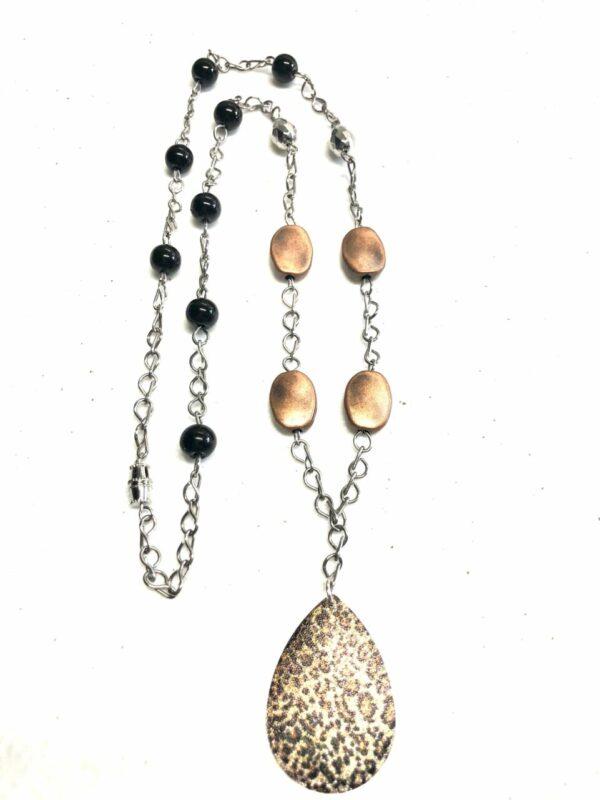 Black, copper& silver colored necklace with leopard print pendant