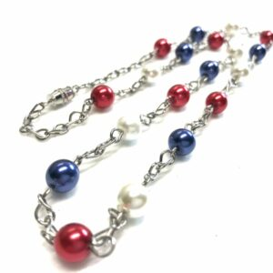 Handmade red, white & blue necklace