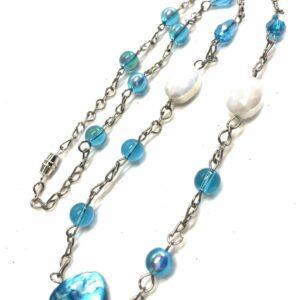 Handmade turquoise & white summer women's necklace
