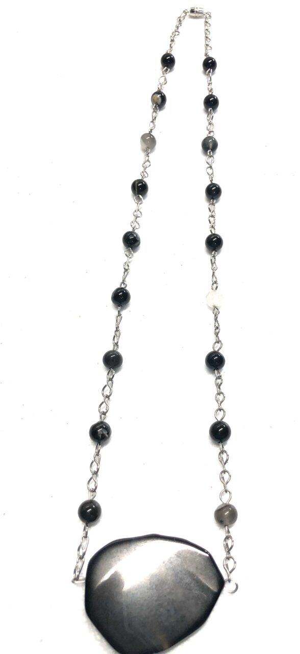 Handmade black agate beaded necklace