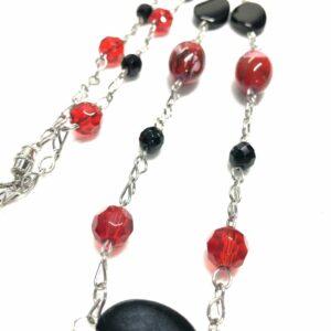 Handmade red & black glass beaded women's necklace