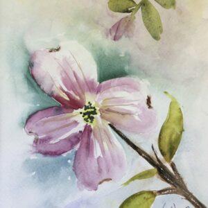 Pink Dogwood Original Watercolor Painting
