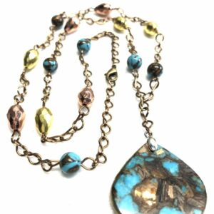Handmade copper, turquoise, gold & brown colored women's necklace