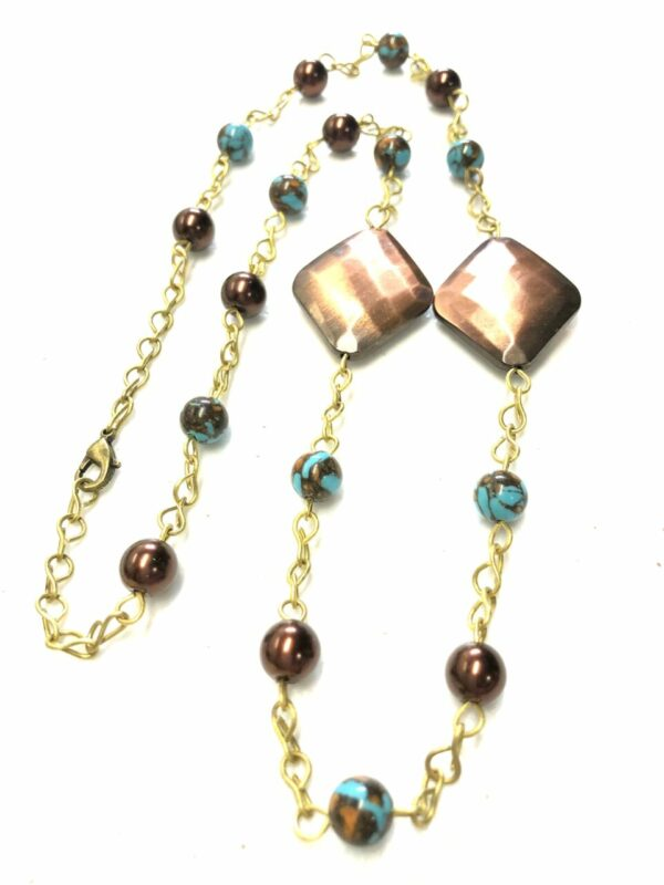 Handmade copper, turquoise & brown colored women's necklace