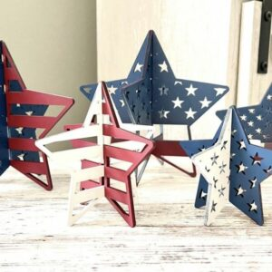 4th of July Decor | Wooden Stars | Set of 5