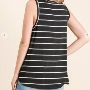 Black & White Stripe Sleeveless Top