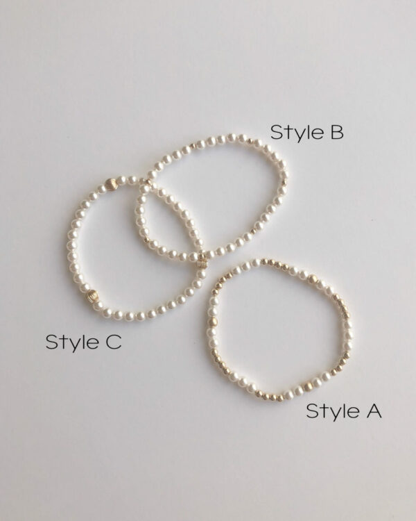 Pearl Stretchy Bracelet – White Pearl Bracelet, Dainty Pearl, Gold Filled, Sterling Silver, Delicate Pearl Bracelet, Colored Pearls