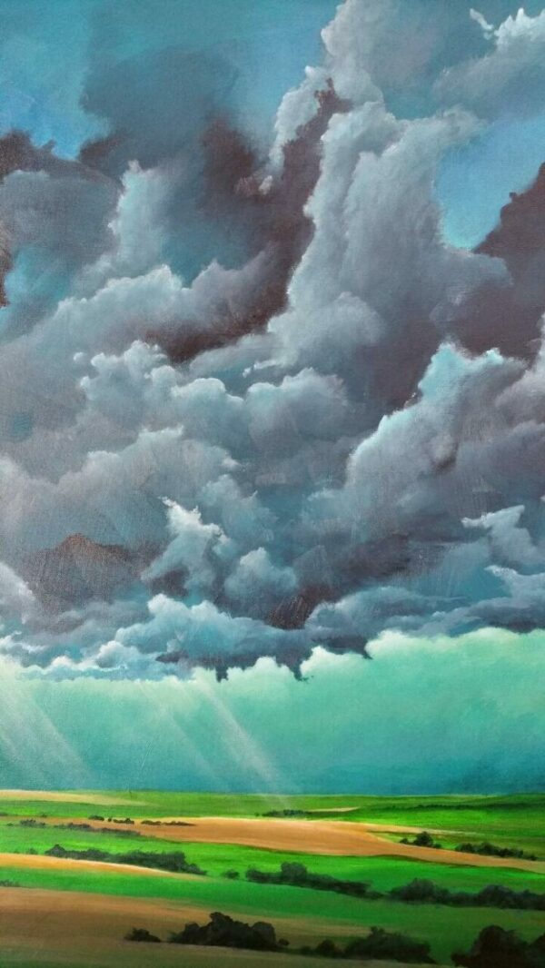 Iowa Storm Clearing acrylic painting by Cris Sell