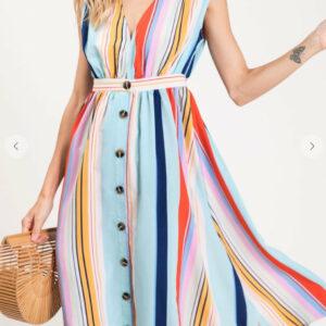 Multi Stripe Button Skirt Dress