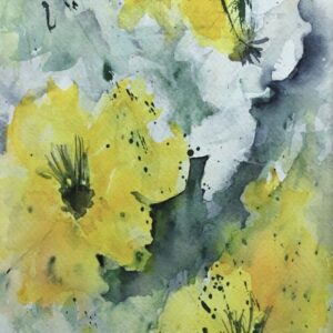 Watercolor Floral Painting – Bright Yellow Flowers