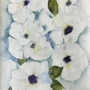 Watercolor Floral Painting – White Blossoms