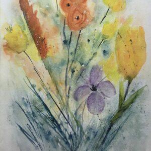Summer Garden Watercolor Painting