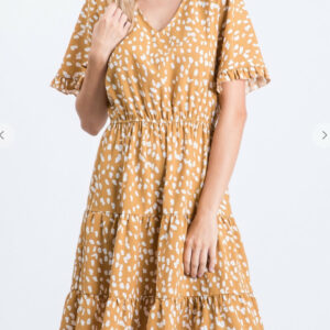 Mustard Vneck Ruffle Dress