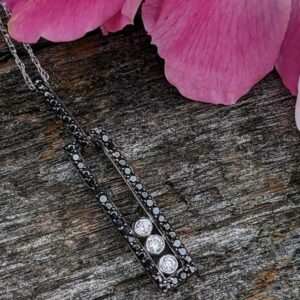 Moveable black and white diamond .33 CTW 10K White Gold Necklace
