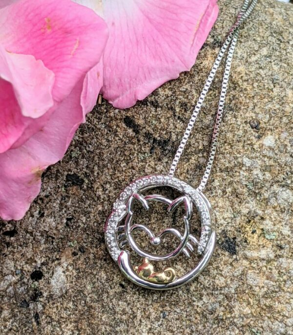 Cat Mom and Baby kitten sterling silver and diamond necklace