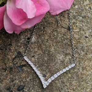 Diamond and sterling silver point necklace