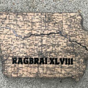 RAGBRAI Iowa map on wood