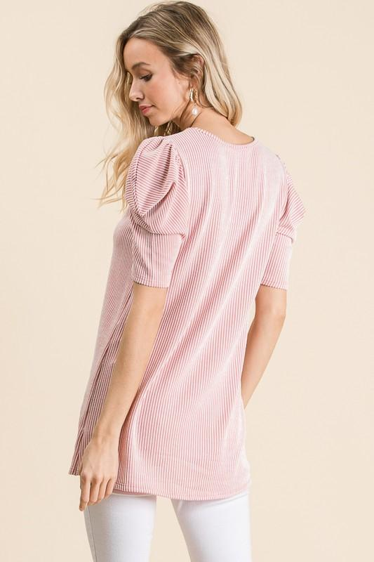 Blushing Puff Sleeve Top