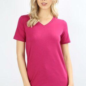 Basic V-Neck Short Sleeve T-Shirt-Magenta