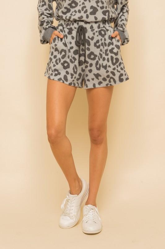 Grey Leopard Lounge Shorts