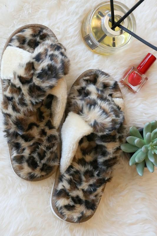 Brown Leopard Slippers