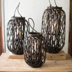 Dark Brown Willow Lantern with Glass