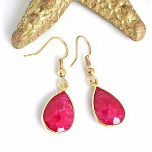 Ruby Teardrop Earrings with Gold Vermeil