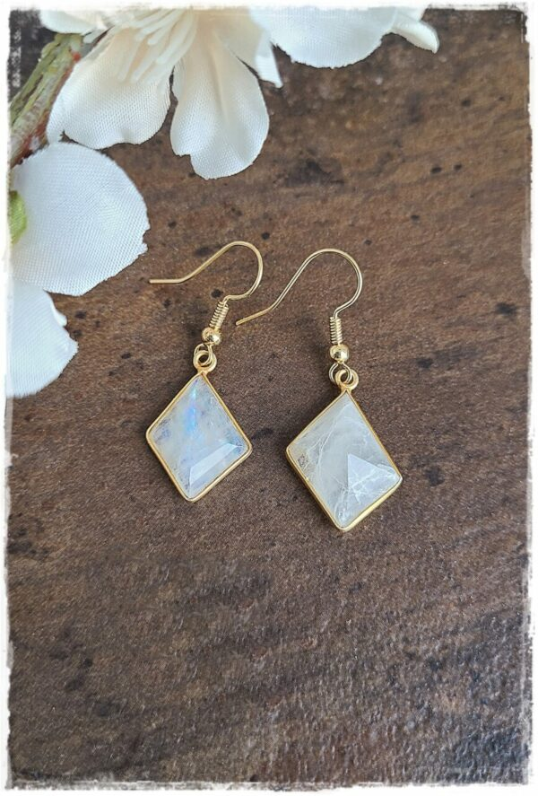 Faceted Moonstone Earrings with Gold Vermeil