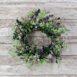 Fern Euclaptyus Purple Flower Wreath