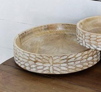 Carved Round Wood Bowl