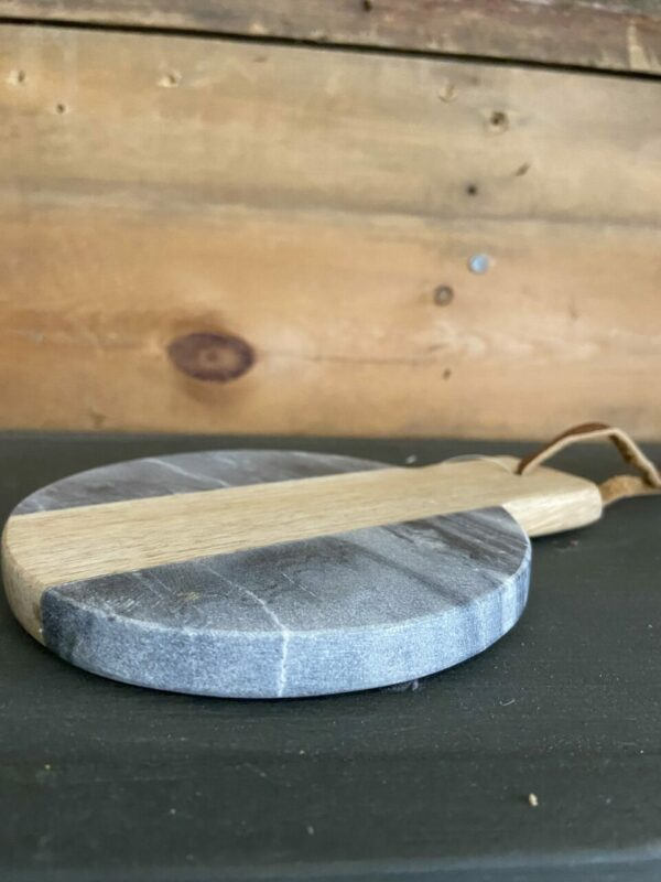 Gray Marble Coaster with wood accent