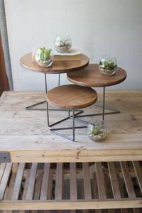 Round Wire Risers with Wood Top
