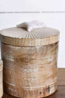 Round Wood Carved Box