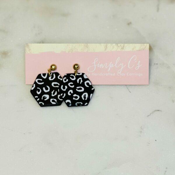 Midnight Cheetah Hexy Earrings