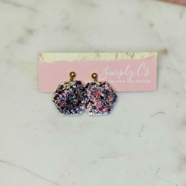 Color Changing Hexy Glitter Earrings