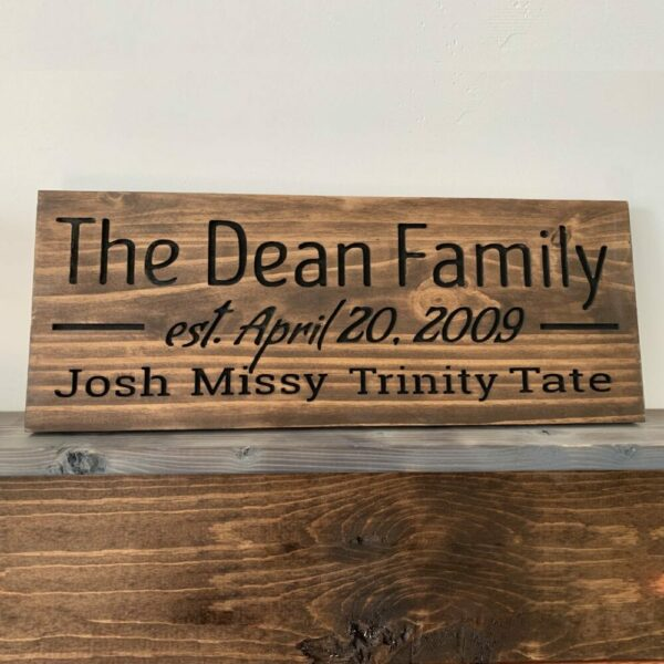 Engraved Personalized Family Wood Sign