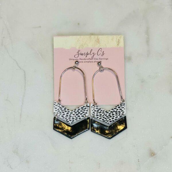 Midnight & White Herringbone Earrings