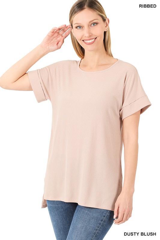 Basic Ribbed Top-Blush