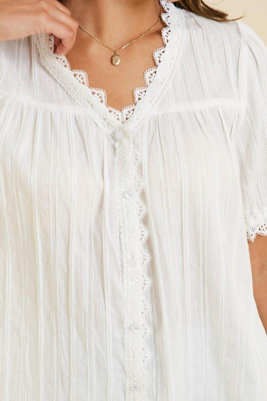 Pretty Lace Button Blouse