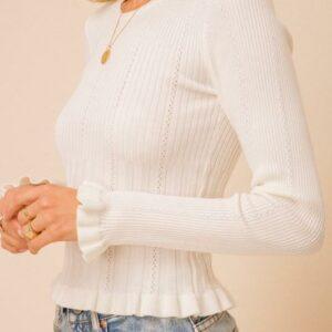 Lettuce Frill Sweater Top