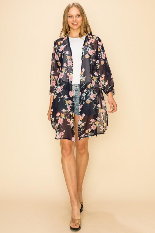 Floral Kimono-Navy