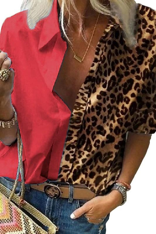 Sizzl'n Red Leopard Blouse