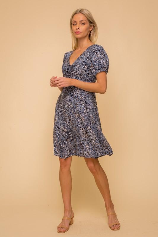 Black & Blue Leopard Dress