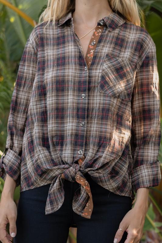 Brown Plaid Tie Front Shirt