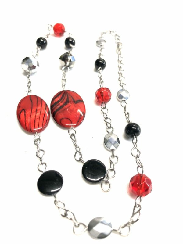 Handmade red, black & silver women's necklace with case