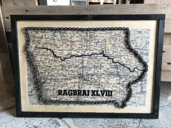 Bike chain RAGBRAI Iowa map on wood