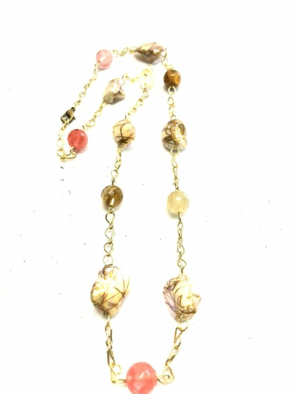 Handmade pink, brown, off-white & gold colored shell necklace
