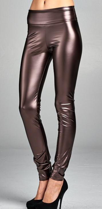 Brown Pleather Leggings